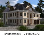 house photo realistic render 3d ... | Shutterstock . vector #714805672
