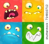 cartoon monster faces set.... | Shutterstock .eps vector #714810712