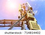 mobile phone communication... | Shutterstock . vector #714814402