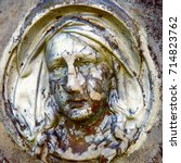close up of statue virgin mary. ... | Shutterstock . vector #714823762