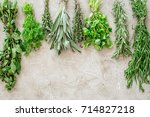 drying fresh herbs and greenery ... | Shutterstock . vector #714827218