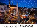 christmas fair in luxembourg.... | Shutterstock . vector #714830062