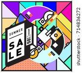 summer sale memphis style web... | Shutterstock .eps vector #714836272