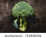 aerial view of fresh broccoli... | Shutterstock . vector #714838336