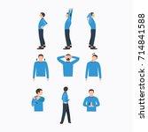 stretching flat illustration set | Shutterstock .eps vector #714841588