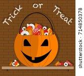 halloween pumpkin bucket with... | Shutterstock .eps vector #714850378