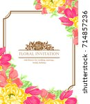 invitation with floral... | Shutterstock .eps vector #714857236