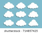 set of white clouds with shadow ... | Shutterstock .eps vector #714857425