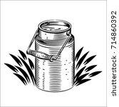 vector illustration of milk can.... | Shutterstock .eps vector #714860392