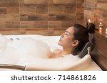 Bathing Woman Relaxing In Bath...