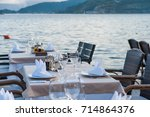 restaurant on sea shore ... | Shutterstock . vector #714864376