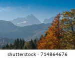 trees and mountains   beautiful ... | Shutterstock . vector #714864676