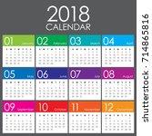 year 2018 calendar vector... | Shutterstock .eps vector #714865816