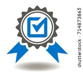 approved or certified medal...   Shutterstock .eps vector #714873865