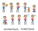 set of professor characters... | Shutterstock .eps vector #714875242