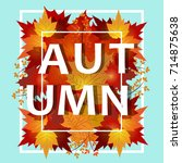 autumn sale banner collection.... | Shutterstock .eps vector #714875638