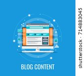 blog content  blogging  post ... | Shutterstock .eps vector #714883045