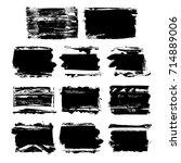 set of black brush stroke.... | Shutterstock .eps vector #714889006