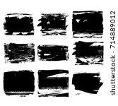 set of black brush stroke.... | Shutterstock .eps vector #714889012