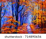 original oil painting on canvas.... | Shutterstock . vector #714890656