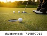 foot golfer training putting... | Shutterstock . vector #714897016