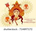 vector design of indian goddess ... | Shutterstock .eps vector #714897172
