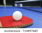 table tennis ball and racket | Shutterstock . vector #714897685