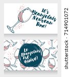 two posters for new wine  can... | Shutterstock .eps vector #714901072