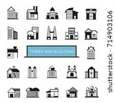 tower and building icons set | Shutterstock .eps vector #714903106