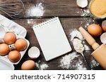 baking or cooking wooden... | Shutterstock . vector #714907315