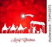 high detail vector nativity... | Shutterstock .eps vector #714913372