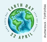 world earth day concept. 3d... | Shutterstock . vector #714914566