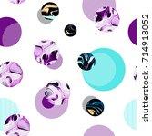 seamless circle modern pattern... | Shutterstock . vector #714918052