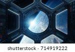 window view of planet earth... | Shutterstock . vector #714919222