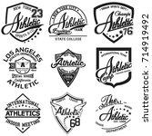 set of nine monochrome sport t... | Shutterstock .eps vector #714919492