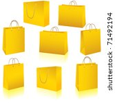 gold paper bag set isolated on... | Shutterstock .eps vector #71492194
