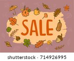 autumn fall seasonal hand drawn ... | Shutterstock .eps vector #714926995
