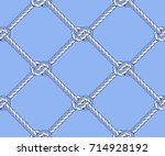seamless rope net with knots... | Shutterstock .eps vector #714928192