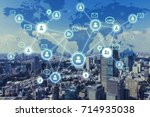 social networking service... | Shutterstock . vector #714935038