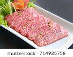 premium japanese wagyu beef...   Shutterstock . vector #714935758