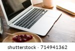 home office desk with laptop... | Shutterstock . vector #714941362