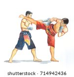 thai boxing fighting actions.... | Shutterstock . vector #714942436