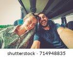 backpackers traveling around... | Shutterstock . vector #714948835