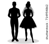 the bride and groom. the black... | Shutterstock . vector #714954862