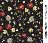 embroidery floral seamless...   Shutterstock .eps vector #714960925