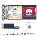 vector wedding card laser cut... | Shutterstock .eps vector #714961375