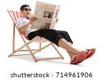 businessman sitting in a deck...   Shutterstock . vector #714961906