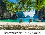scenery of destination beach... | Shutterstock . vector #714975085