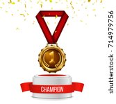 gold medal with red ribbon and...   Shutterstock .eps vector #714979756