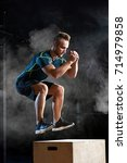 box jump exercise young man... | Shutterstock . vector #714979858